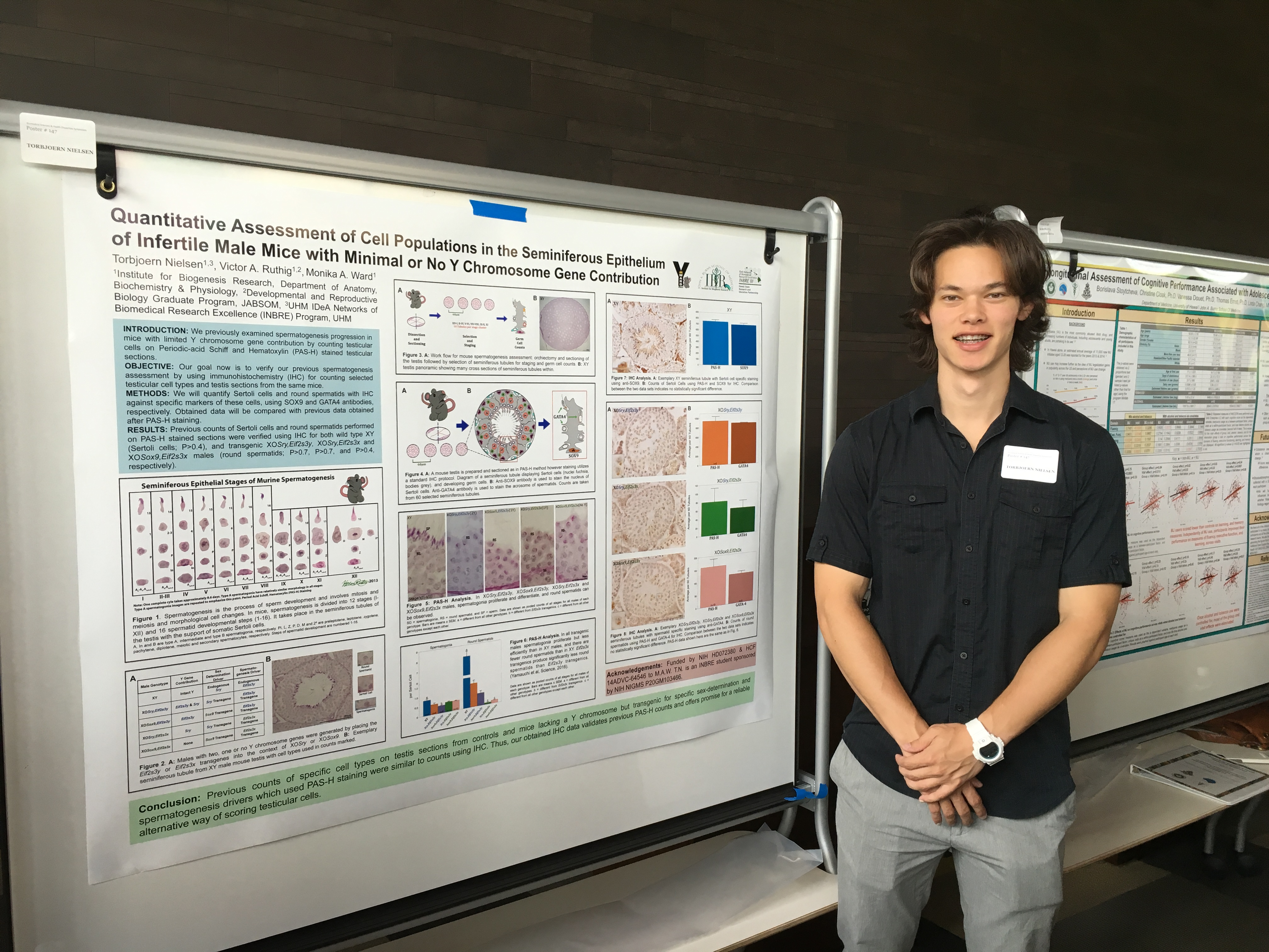 Torbjoern Nielsen presenting his poster at the 2016 Biomedical Symposium Undergraduate Poster Session