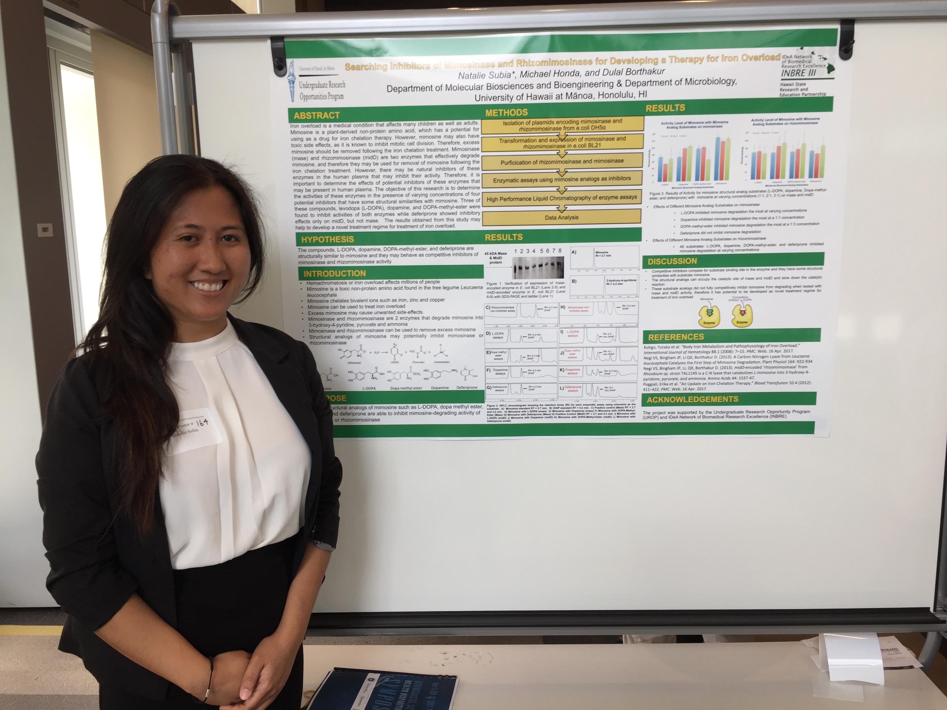 INBRE SRE Student, Natalie Subia, at the Undergraduate Poster Session