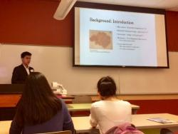 Andrew Pham presents his Honors Undergraduate Thesis Project on May 5, 2017